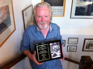 """Peter May with Barry Award for """"The Blackhouse"""""""