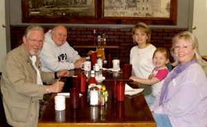 With Dick and his family at an early morning IHOP breakfast in Texas